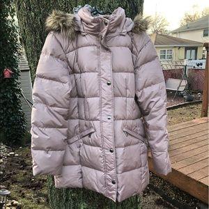 London Fog down puffer coat w/faux fur lined hood